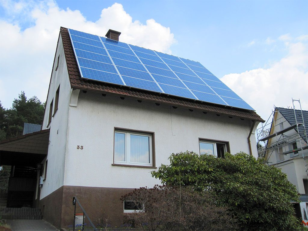 Photovoltaik-Anlage auf Einfamilienhaus